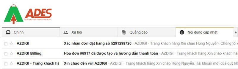 Email nhan duoc